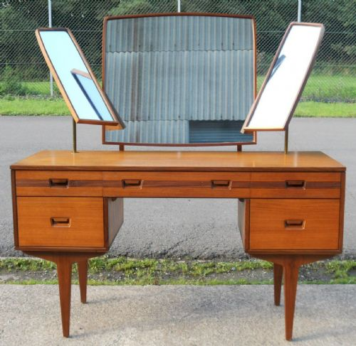 1960's Retro Teak Triple Mirror Kneehole Dressing Table - SOLD